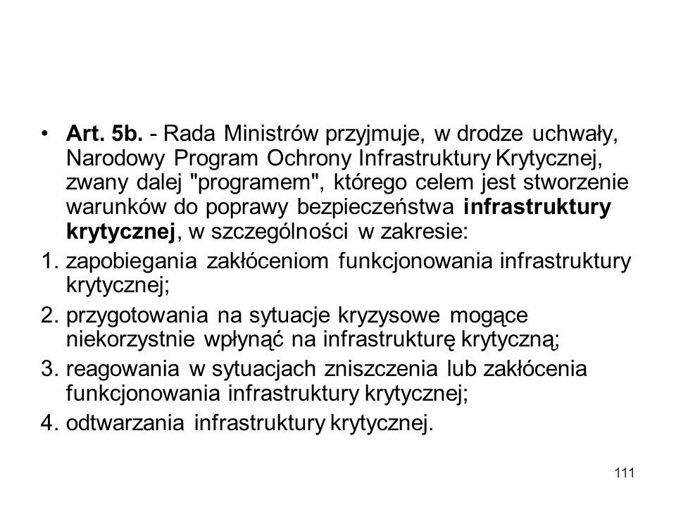111 Art. 5b. - Rada Ministrów przyjmuje, w drodze uchwały, Narodowy Program Ochrony Infrastruktury Krytycznej, zwany dalej
