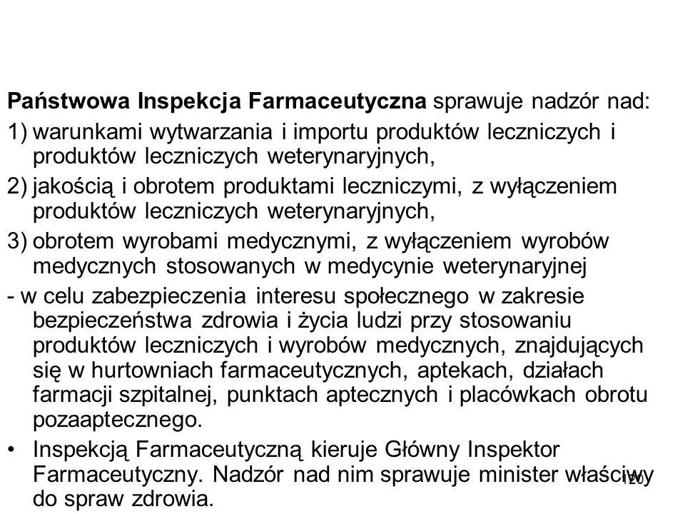 120 Państwowa Inspekcja Farmaceutyczna sprawuje nadzór nad: 1)warunkami wytwarzania i importu produktów leczniczych i produktów leczniczych weterynary