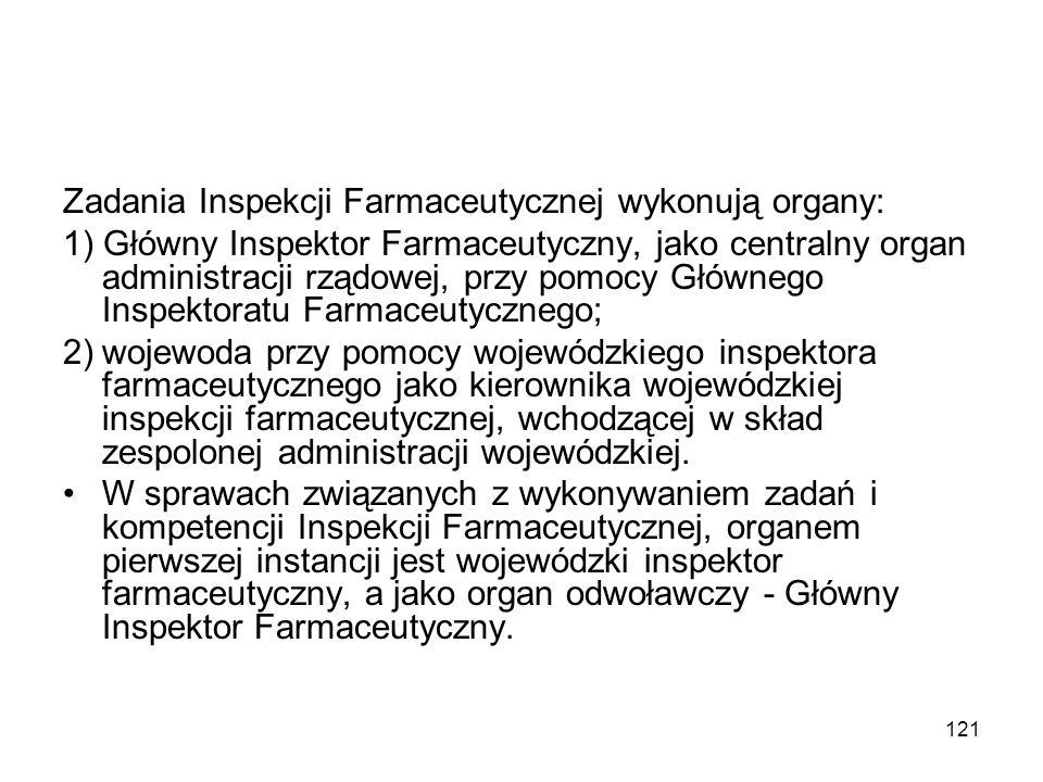 121 Zadania Inspekcji Farmaceutycznej wykonują organy: 1) Główny Inspektor Farmaceutyczny, jako centralny organ administracji rządowej, przy pomocy Gł