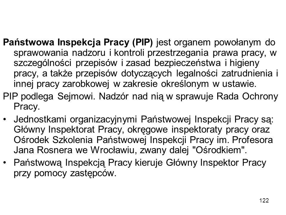 122 Państwowa Inspekcja Pracy (PIP) jest organem powołanym do sprawowania nadzoru i kontroli przestrzegania prawa pracy, w szczególności przepisów i z