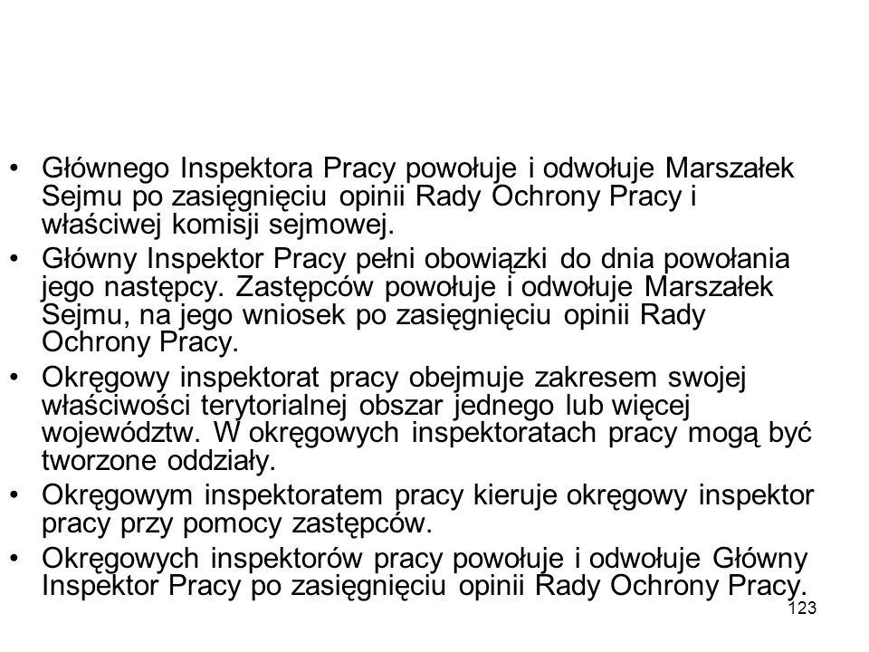 123 Głównego Inspektora Pracy powołuje i odwołuje Marszałek Sejmu po zasięgnięciu opinii Rady Ochrony Pracy i właściwej komisji sejmowej. Główny Inspe