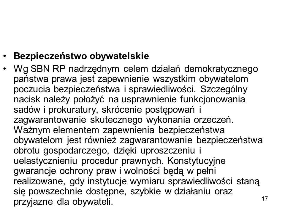 17 Bezpieczeństwo obywatelskie Wg SBN RP nadrzędnym celem działań demokratycznego państwa prawa jest zapewnienie wszystkim obywatelom poczucia bezpiec