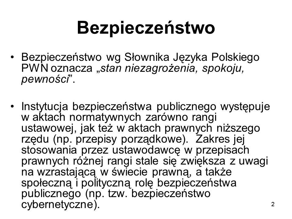 """22 Bezpieczeństwo Bezpieczeństwo wg Słownika Języka Polskiego PWN oznacza """"stan niezagrożenia, spokoju, pewności"""". Instytucja bezpieczeństwa publiczne"""