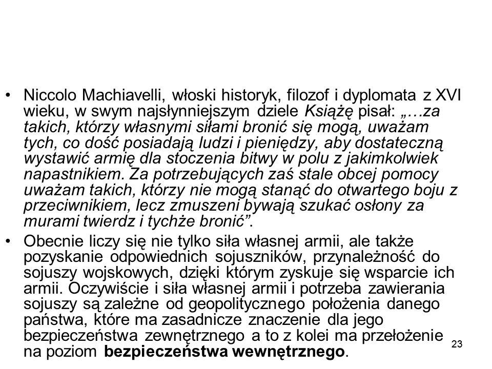 """23 Niccolo Machiavelli, włoski historyk, filozof i dyplomata z XVI wieku, w swym najsłynniejszym dziele Książę pisał: """"…za takich, którzy własnymi sił"""