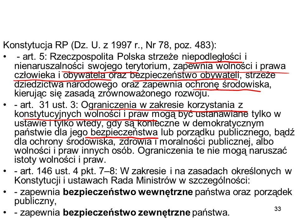 33 Konstytucja RP (Dz. U. z 1997 r., Nr 78, poz. 483): - art. 5: Rzeczpospolita Polska strzeże niepodległości i nienaruszalności swojego terytorium, z