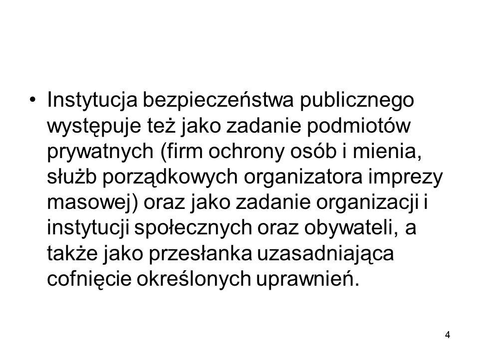 44 Instytucja bezpieczeństwa publicznego występuje też jako zadanie podmiotów prywatnych (firm ochrony osób i mienia, służb porządkowych organizatora