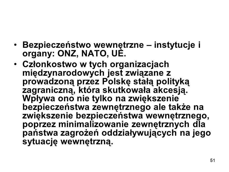 51 Bezpieczeństwo wewnętrzne – instytucje i organy: ONZ, NATO, UE. Członkostwo w tych organizacjach międzynarodowych jest związane z prowadzoną przez