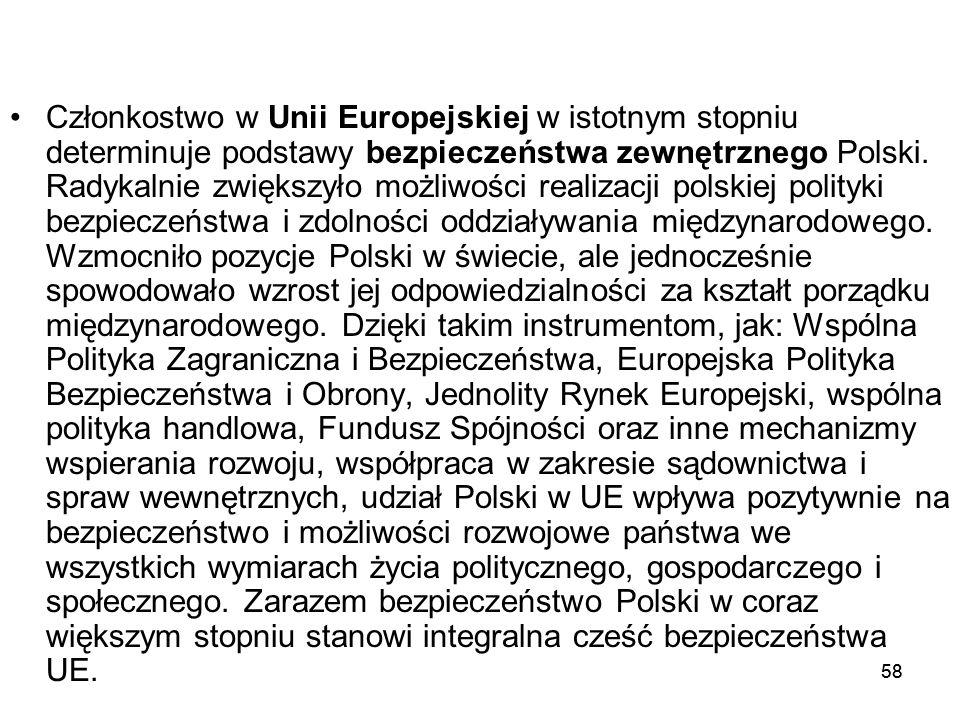 58 Członkostwo w Unii Europejskiej w istotnym stopniu determinuje podstawy bezpieczeństwa zewnętrznego Polski. Radykalnie zwiększyło możliwości realiz