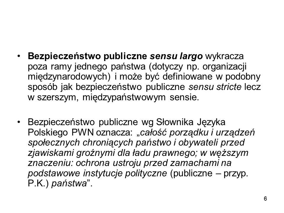 66 Bezpieczeństwo publiczne sensu largo wykracza poza ramy jednego państwa (dotyczy np. organizacji międzynarodowych) i może być definiowane w podobny