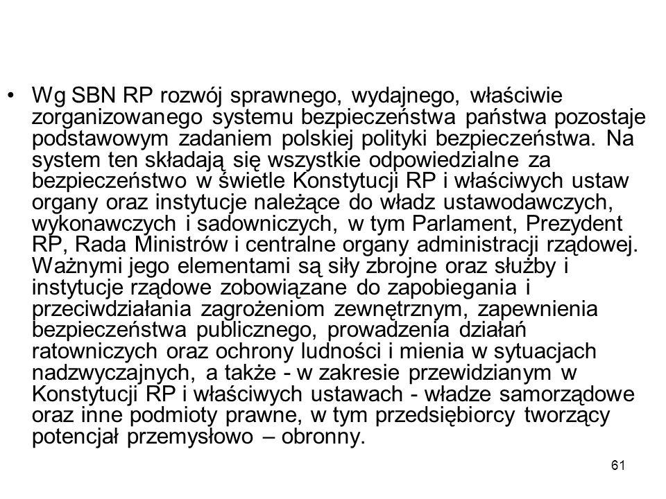 61 Wg SBN RP rozwój sprawnego, wydajnego, właściwie zorganizowanego systemu bezpieczeństwa państwa pozostaje podstawowym zadaniem polskiej polityki be