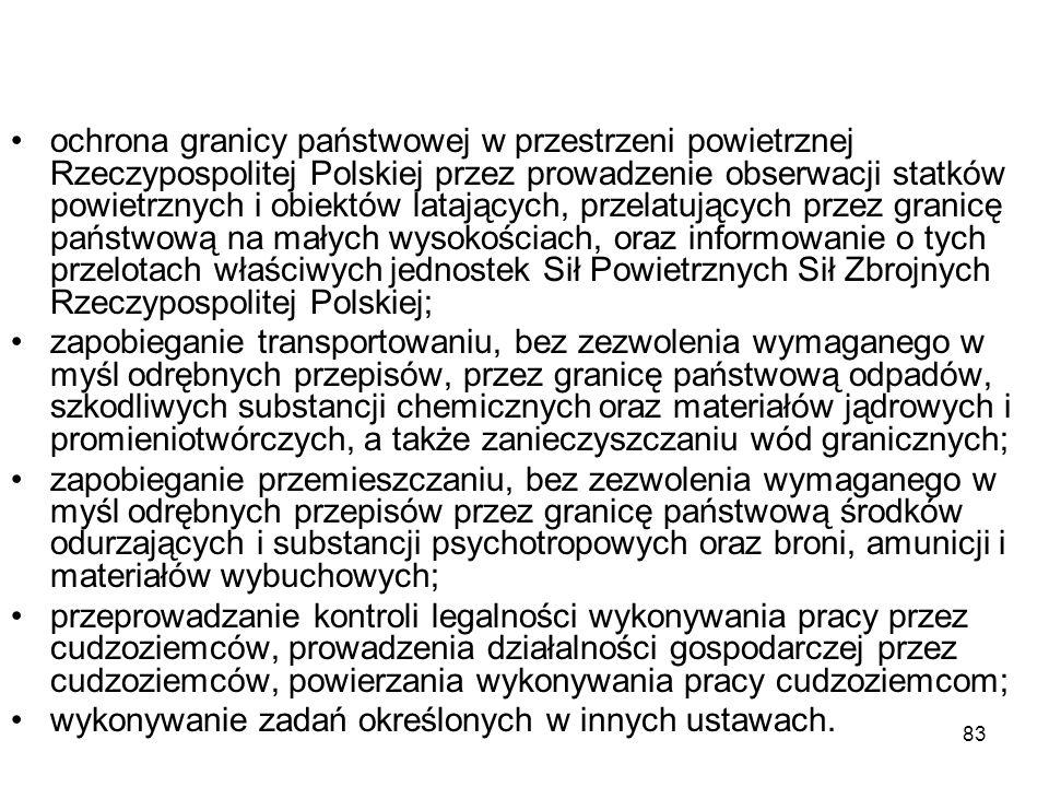 83 ochrona granicy państwowej w przestrzeni powietrznej Rzeczypospolitej Polskiej przez prowadzenie obserwacji statków powietrznych i obiektów latając
