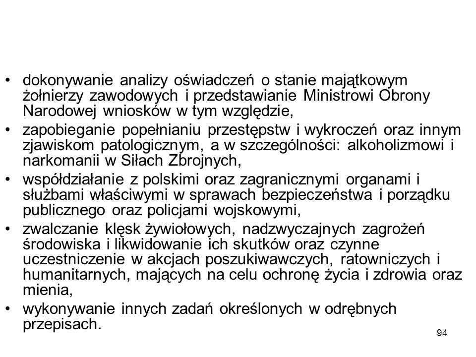 94 dokonywanie analizy oświadczeń o stanie majątkowym żołnierzy zawodowych i przedstawianie Ministrowi Obrony Narodowej wniosków w tym względzie, zapo