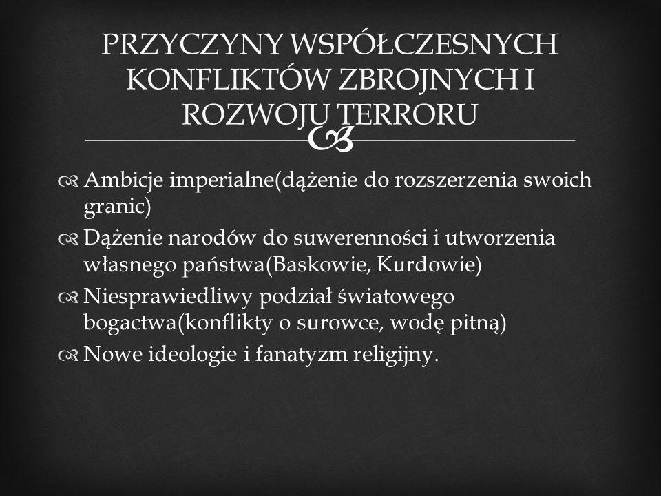  PRZYCZYNY WSPÓŁCZESNYCH KONFLIKTÓW ZBROJNYCH I ROZWOJU TERRORU  Ambicje imperialne(dążenie do rozszerzenia swoich granic)  Dążenie narodów do suwe