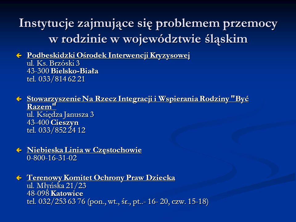 Instytucje zajmujące się problemem przemocy w rodzinie w województwie śląskim  Podbeskidzki Ośrodek Interwencji Kryzysowej ul. Ks. Brzóski 3 43-300 B