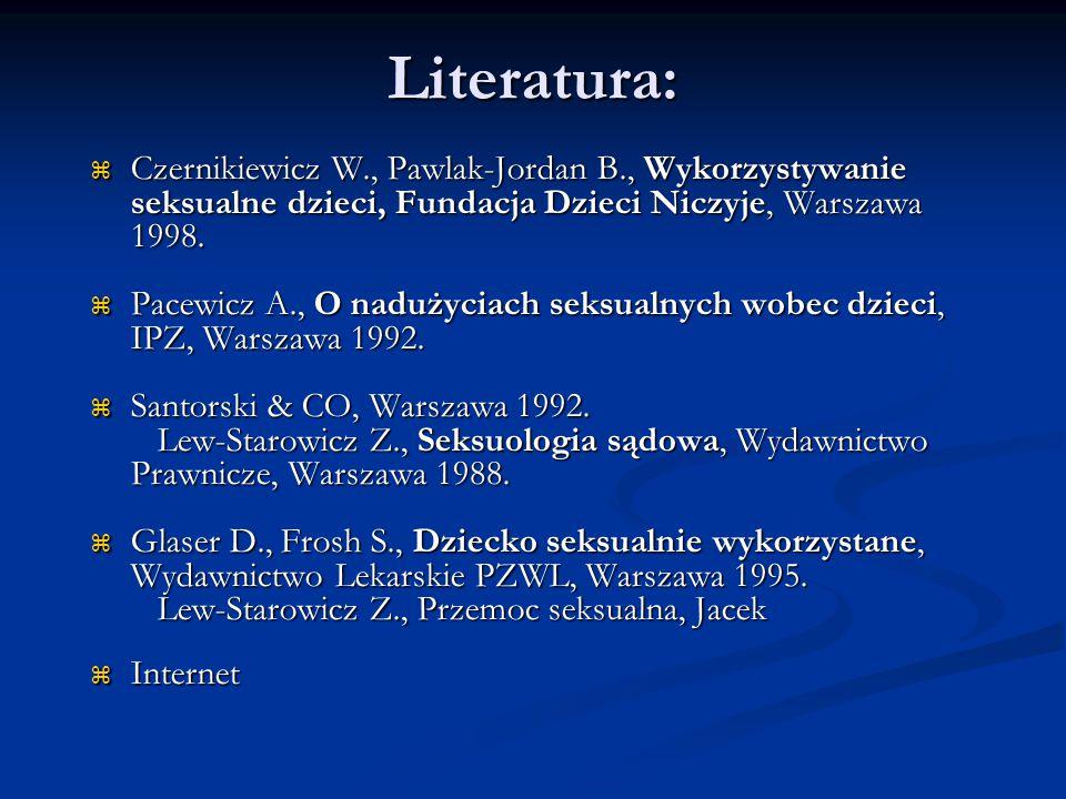 Literatura:  Czernikiewicz W., Pawlak-Jordan B., Wykorzystywanie seksualne dzieci, Fundacja Dzieci Niczyje, Warszawa 1998.  Pacewicz A., O nadużycia
