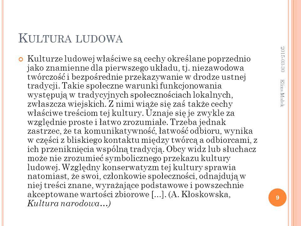 K ULTURA LUDOWA Kulturze ludowej właściwe są cechy określane poprzednio jako znamienne dla pierwszego układu, tj.