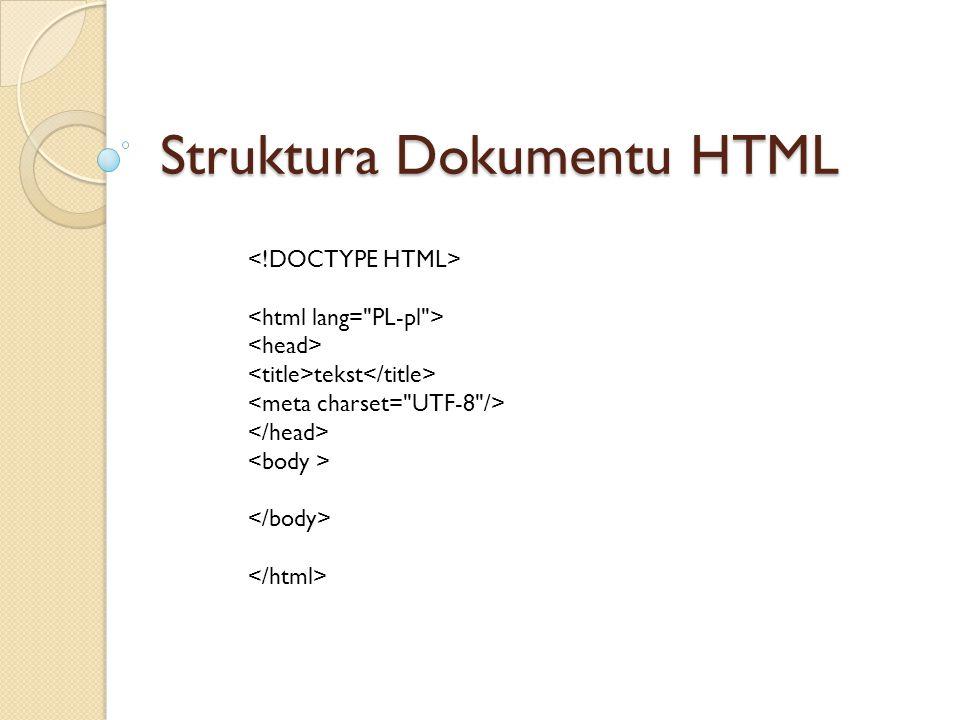 Struktura Dokumentu HTML tekst