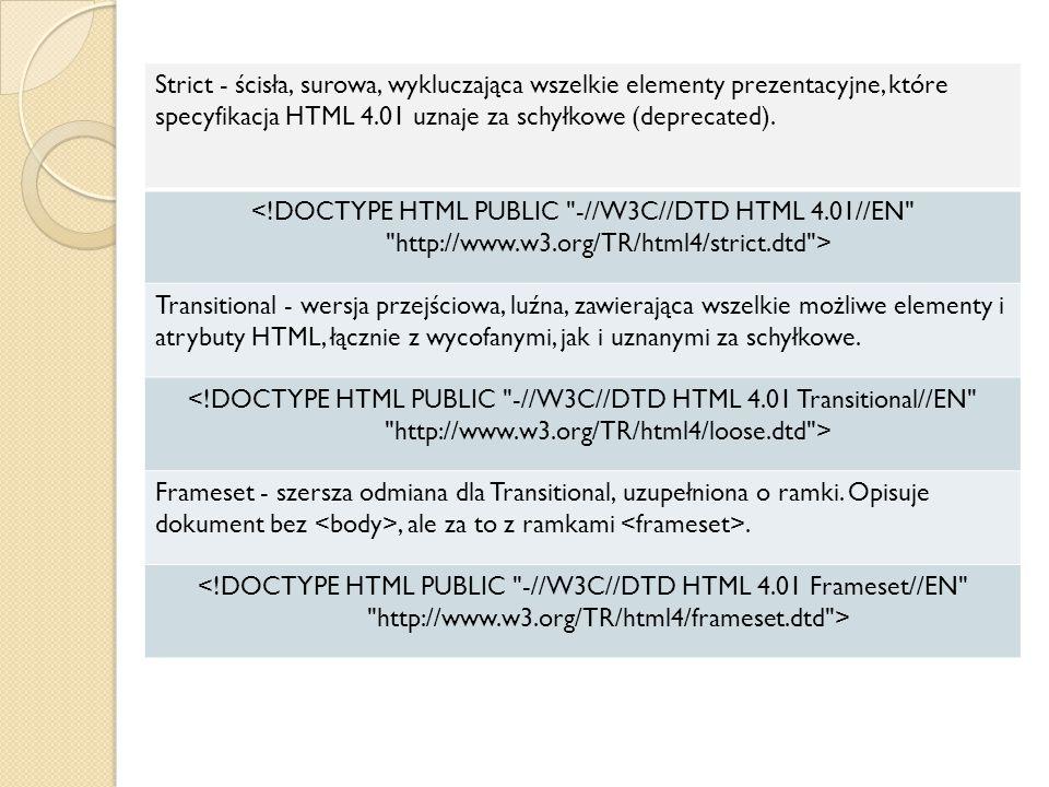Strict - ścisła, surowa, wykluczająca wszelkie elementy prezentacyjne, które specyfikacja HTML 4.01 uznaje za schyłkowe (deprecated). <!DOCTYPE HTML P