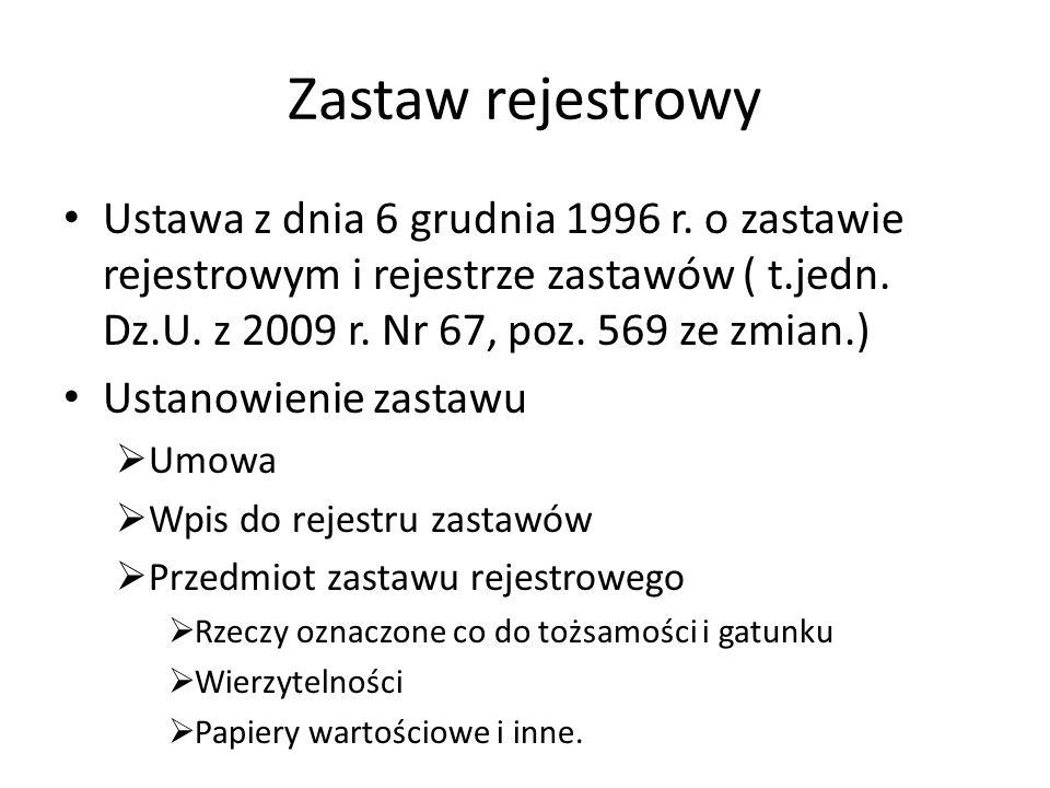Zastaw rejestrowy Ustawa z dnia 6 grudnia 1996 r.