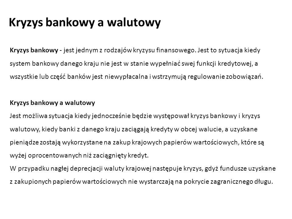 Kryzys bankowy - jest jednym z rodzajów kryzysu finansowego.