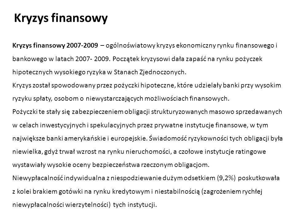 Kryzys finansowy 2007-2009 – ogólnoświatowy kryzys ekonomiczny rynku finansowego i bankowego w latach 2007- 2009. Początek kryzysowi dała zapaść na ry