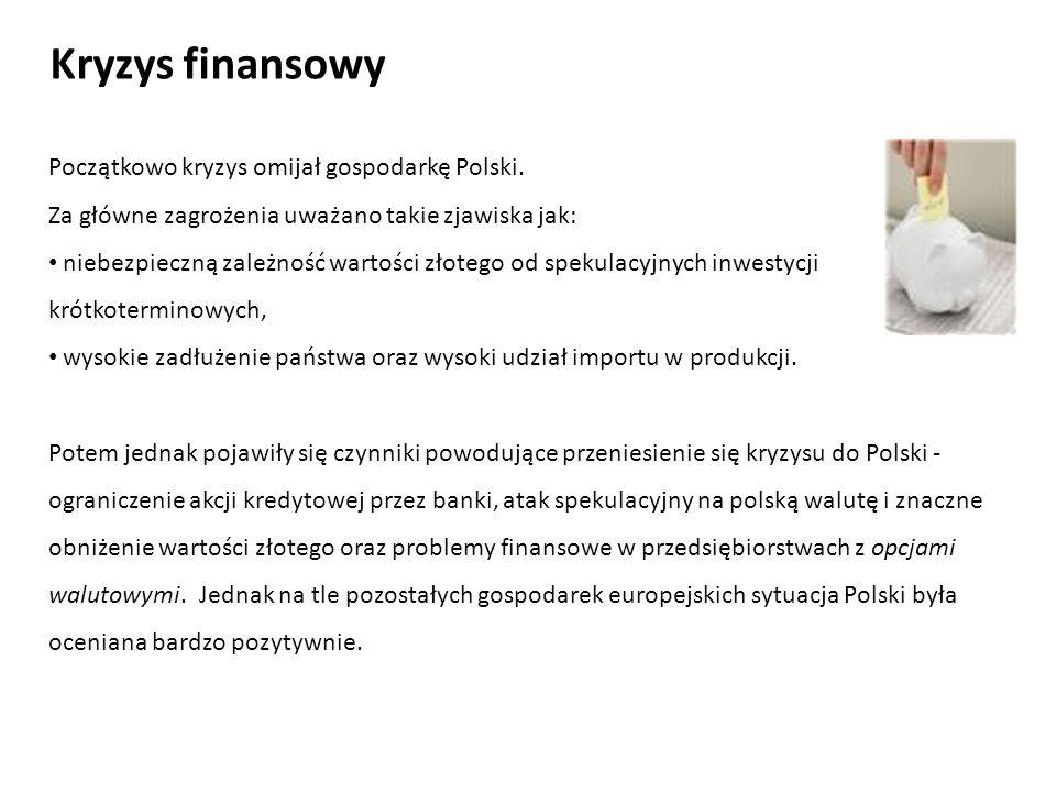 Początkowo kryzys omijał gospodarkę Polski. Za główne zagrożenia uważano takie zjawiska jak: niebezpieczną zależność wartości złotego od spekulacyjnyc