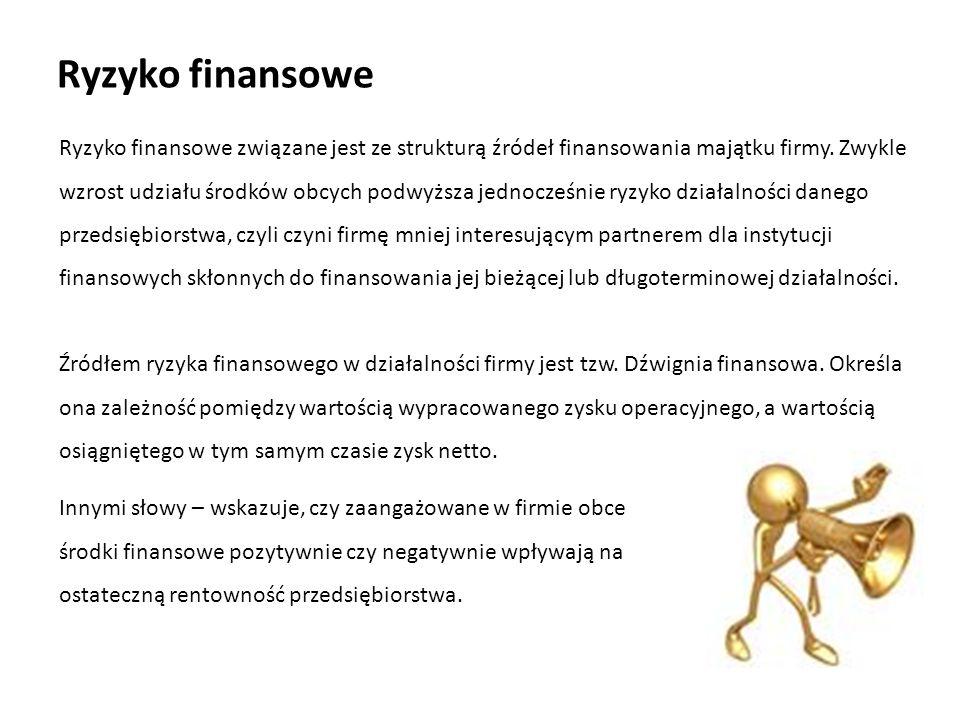 Ryzyko finansowe Ryzyko finansowe związane jest ze strukturą źródeł finansowania majątku firmy.