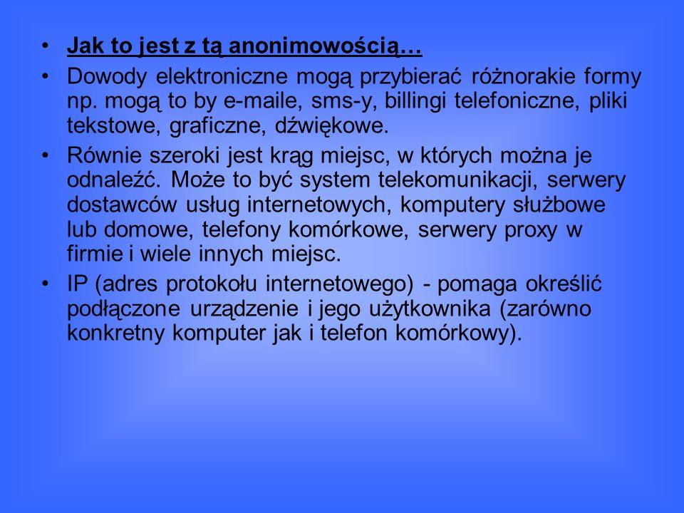 Jak to jest z tą anonimowością… Dowody elektroniczne mogą przybierać różnorakie formy np.
