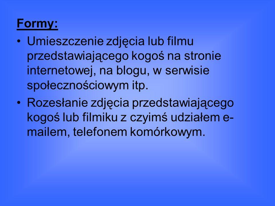 Formy: Umieszczenie zdjęcia lub filmu przedstawiającego kogoś na stronie internetowej, na blogu, w serwisie społecznościowym itp.