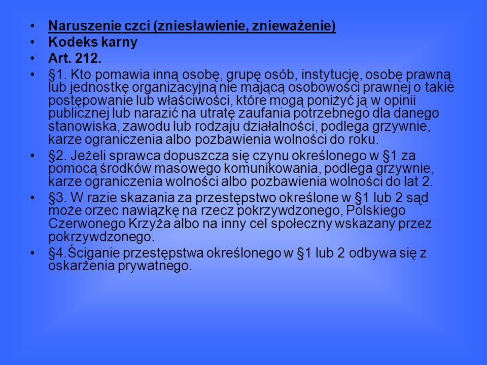 Naruszenie czci (zniesławienie, znieważenie) Kodeks karny Art.