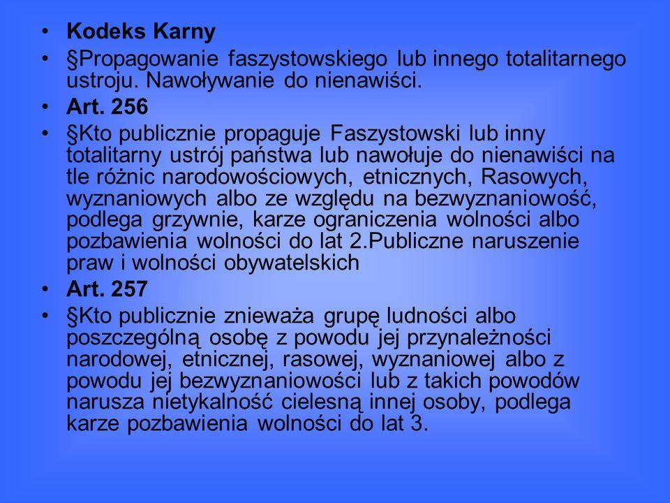 Kodeks Karny §Propagowanie faszystowskiego lub innego totalitarnego ustroju.