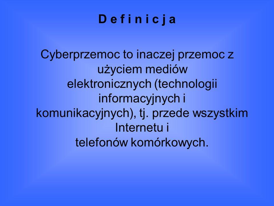 D e f i n i c j a Cyberprzemoc to inaczej przemoc z użyciem mediów elektronicznych (technologii informacyjnych i komunikacyjnych), tj.