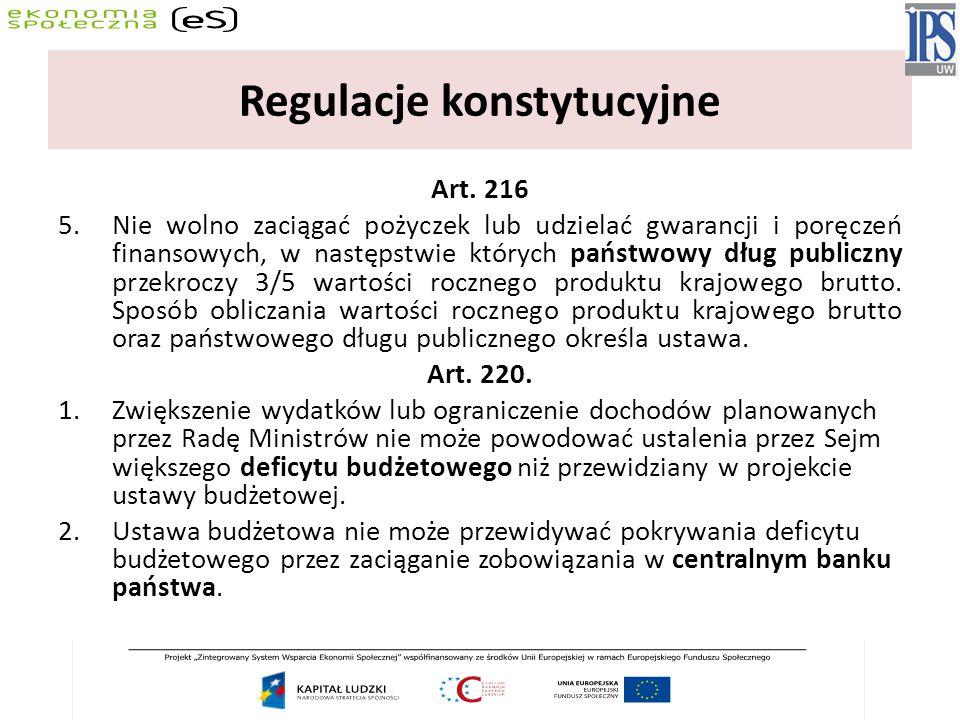 Regulacje konstytucyjne Art. 216 5.Nie wolno zaciągać pożyczek lub udzielać gwarancji i poręczeń finansowych, w następstwie których państwowy dług pub