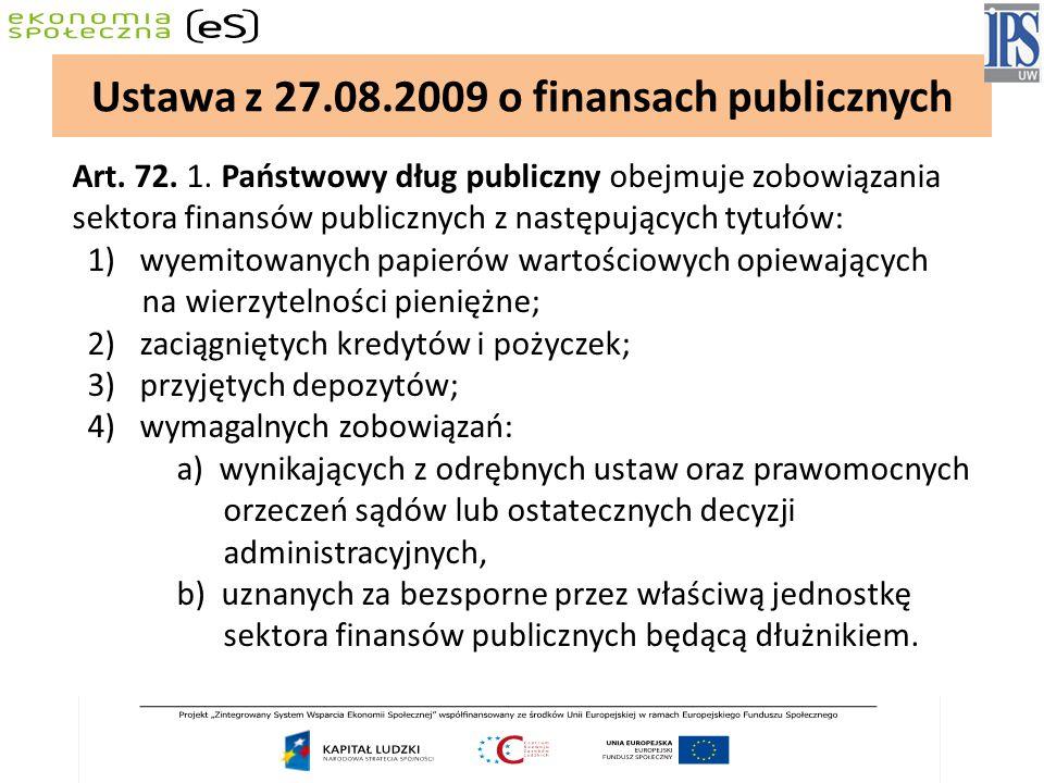 Art. 72. 1. Państwowy dług publiczny obejmuje zobowiązania sektora finansów publicznych z następujących tytułów: 1) wyemitowanych papierów wartościowy