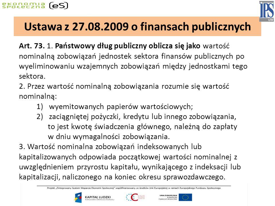 Art. 73. 1. Państwowy dług publiczny oblicza się jako wartość nominalną zobowiązań jednostek sektora finansów publicznych po wyeliminowaniu wzajemnych