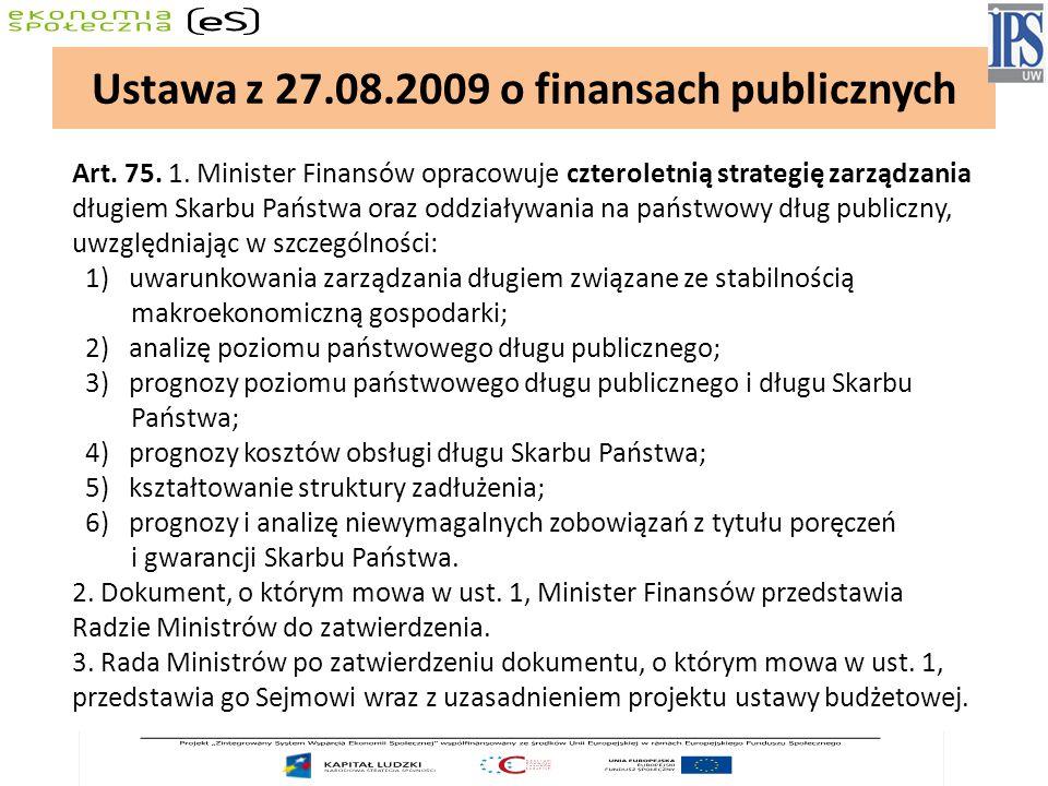 Art. 75. 1. Minister Finansów opracowuje czteroletnią strategię zarządzania długiem Skarbu Państwa oraz oddziaływania na państwowy dług publiczny, uwz