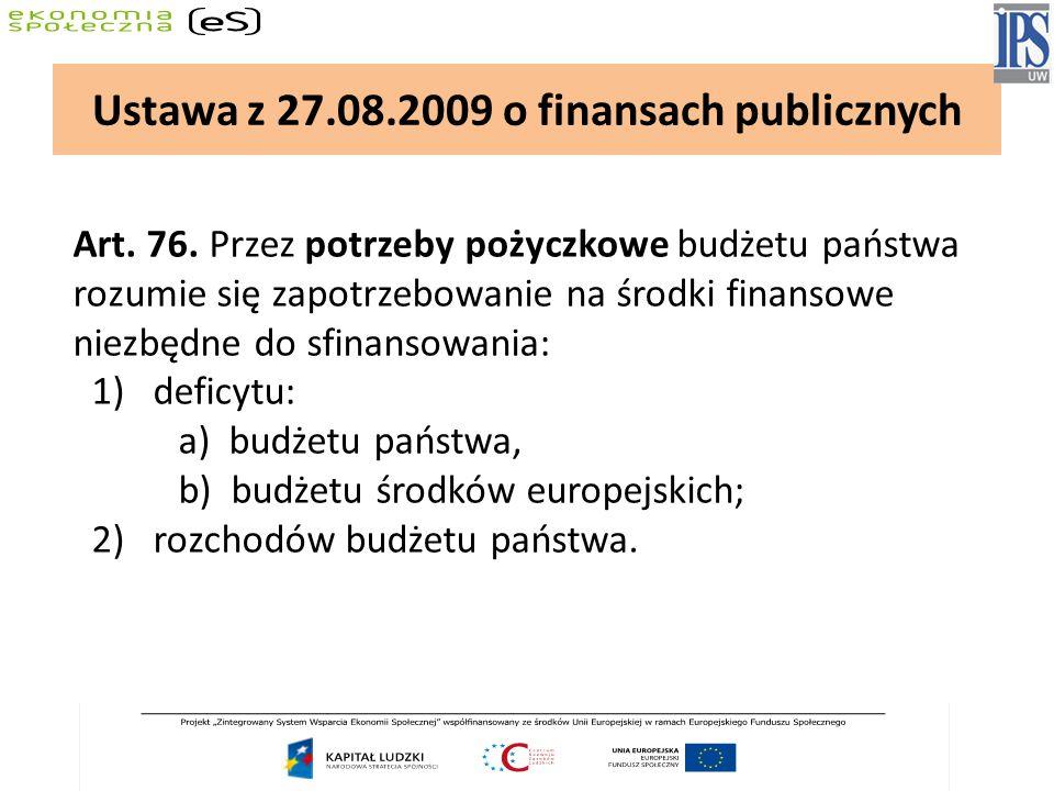 Art. 76. Przez potrzeby pożyczkowe budżetu państwa rozumie się zapotrzebowanie na środki finansowe niezbędne do sfinansowania: 1) deficytu: a) budżetu