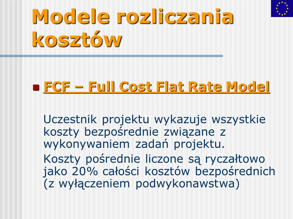 Modele rozliczania kosztów FCF – Full Cost Flat Rate Model FCF – Full Cost Flat Rate Model Uczestnik projektu wykazuje wszystkie koszty bezpośrednie z