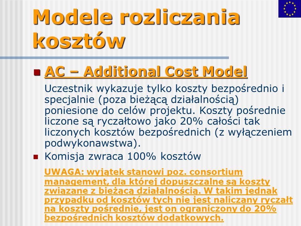 Modele rozliczania kosztów AC – Additional Cost Model AC – Additional Cost Model Uczestnik wykazuje tylko koszty bezpośrednio i specjalnie (poza bieżą