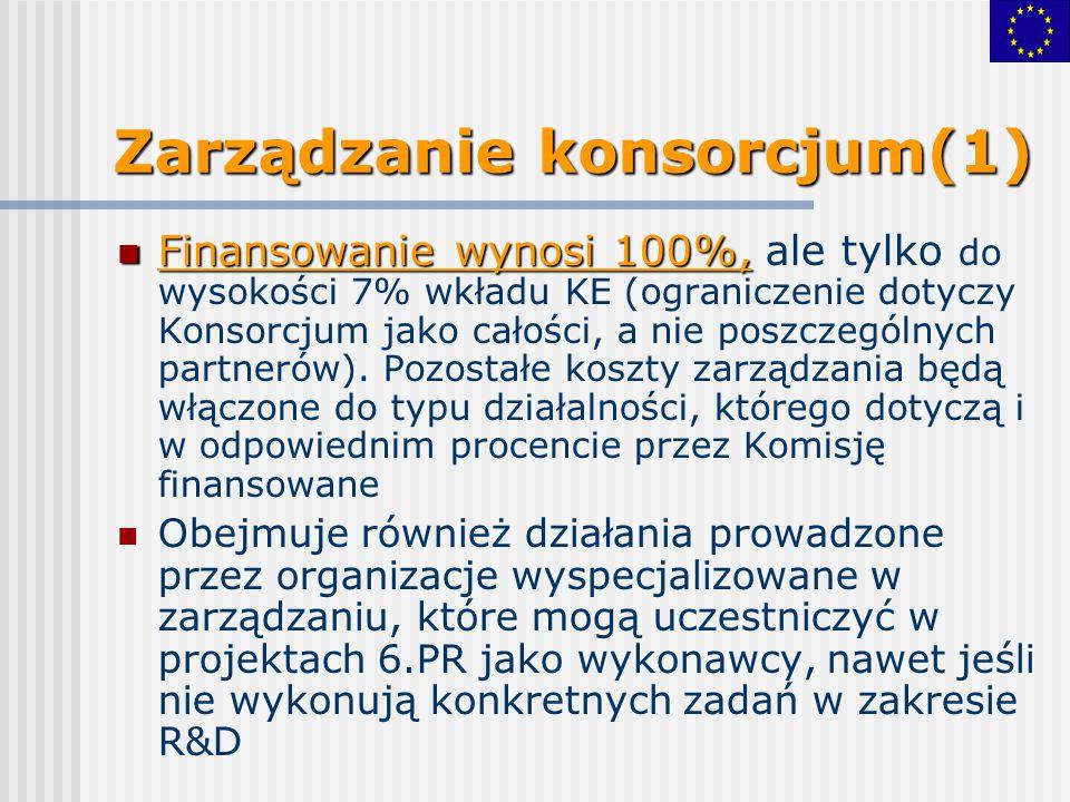 Zarządzanie konsorcjum(1) Finansowanie wynosi 100%, Finansowanie wynosi 100%, ale tylko do wysokości 7% wkładu KE (ograniczenie dotyczy Konsorcjum jak