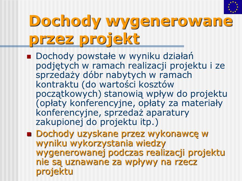 Dochody wygenerowane przez projekt Dochody powstałe w wyniku działań podjętych w ramach realizacji projektu i ze sprzedaży dóbr nabytych w ramach kont