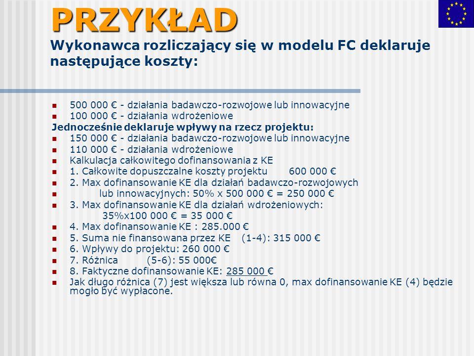 PRZYKŁAD PRZYKŁAD Wykonawca rozliczający się w modelu FC deklaruje następujące koszty: 500 000 € - działania badawczo-rozwojowe lub innowacyjne 100 00