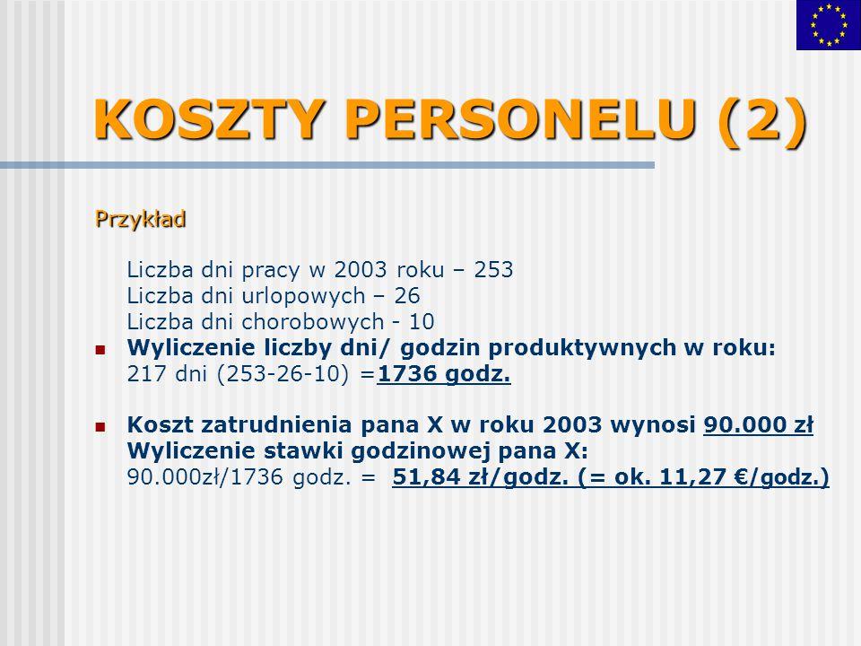 KOSZTY PERSONELU (2) Przykład Liczba dni pracy w 2003 roku – 253 Liczba dni urlopowych – 26 Liczba dni chorobowych - 10 Wyliczenie liczby dni/ godzin