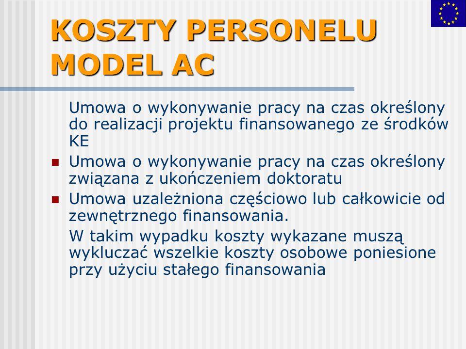 KOSZTY PERSONELU MODEL AC Umowa o wykonywanie pracy na czas określony do realizacji projektu finansowanego ze środków KE Umowa o wykonywanie pracy na