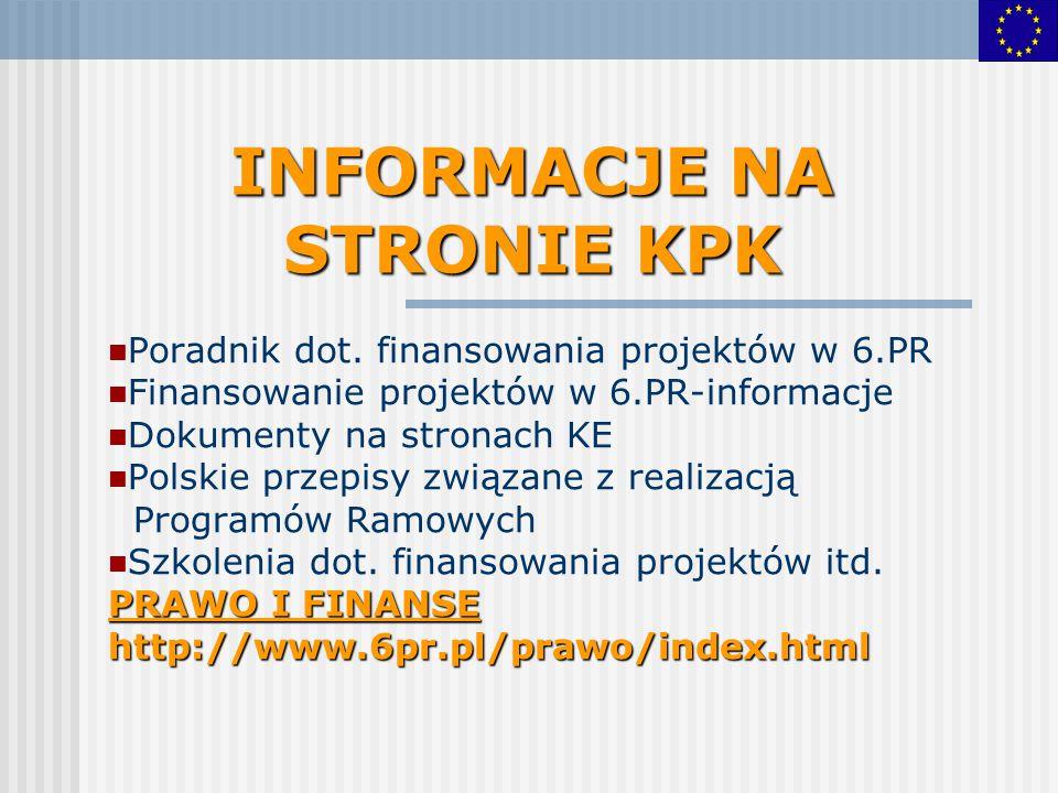INFORMACJE NA STRONIE KPK Poradnik dot. finansowania projektów w 6.PR Finansowanie projektów w 6.PR-informacje Dokumenty na stronach KE Polskie przepi