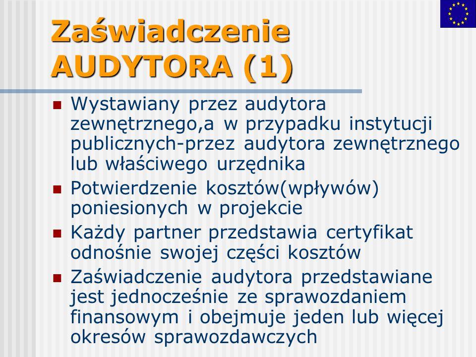Zaświadczenie AUDYTORA (1) Wystawiany przez audytora zewnętrznego,a w przypadku instytucji publicznych-przez audytora zewnętrznego lub właściwego urzę