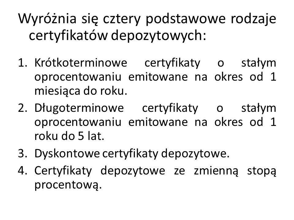 Wyróżnia się cztery podstawowe rodzaje certyfikatów depozytowych: 1.Krótkoterminowe certyfikaty o stałym oprocentowaniu emitowane na okres od 1 miesią