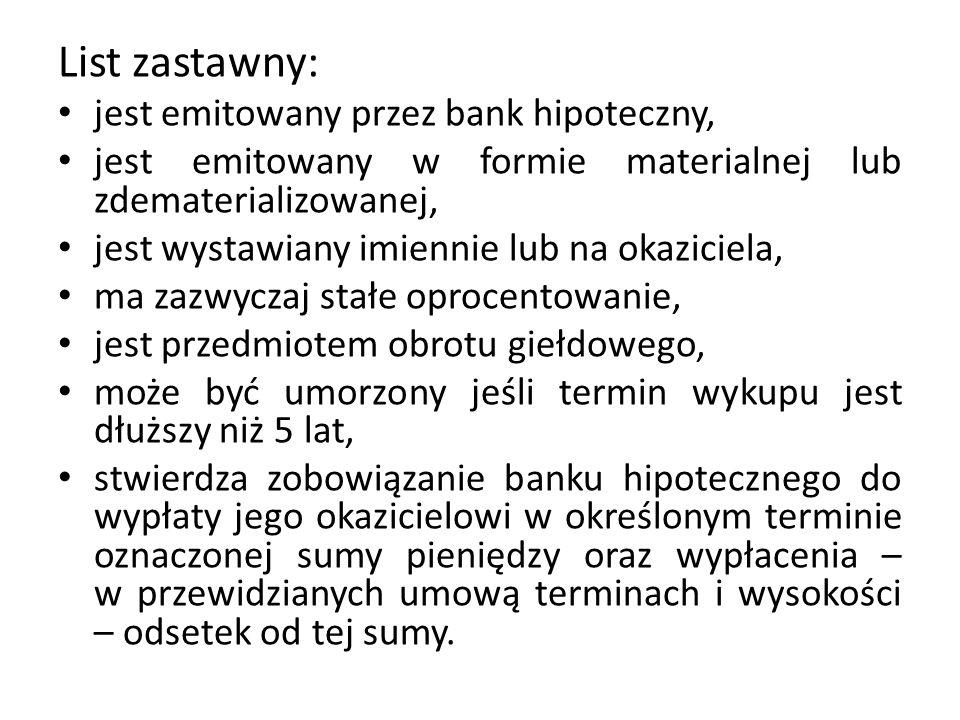 List zastawny: jest emitowany przez bank hipoteczny, jest emitowany w formie materialnej lub zdematerializowanej, jest wystawiany imiennie lub na okaz