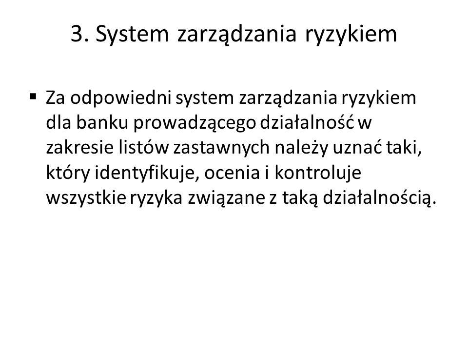 3. System zarządzania ryzykiem  Za odpowiedni system zarządzania ryzykiem dla banku prowadzącego działalność w zakresie listów zastawnych należy uzna