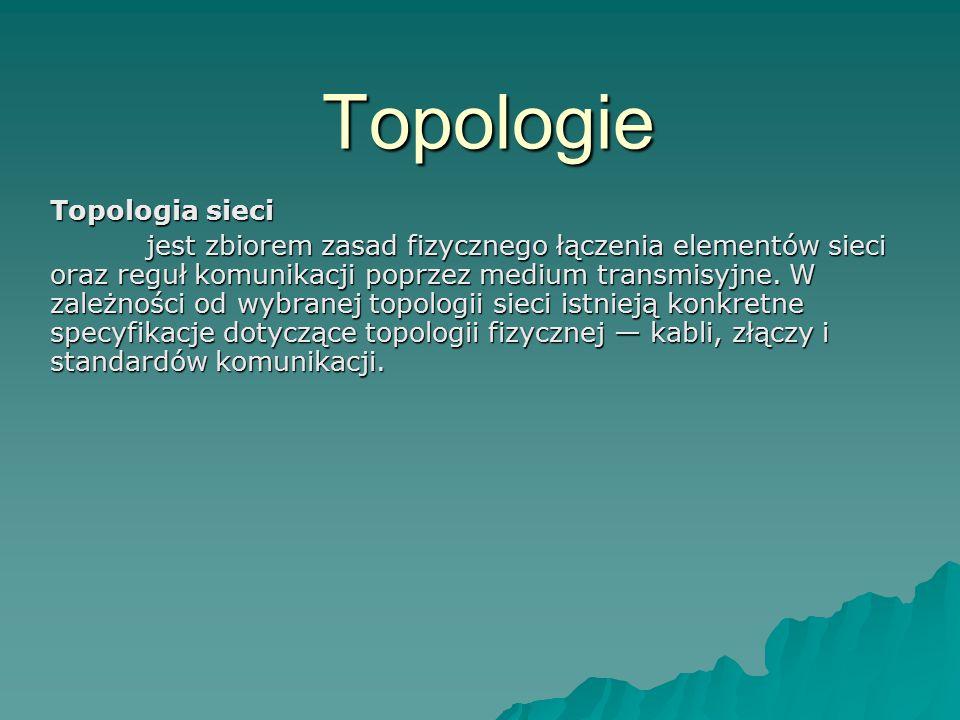 Topologie Topologia sieci jest zbiorem zasad fizycznego łączenia elementów sieci oraz reguł komunikacji poprzez medium transmisyjne. W zależności od w
